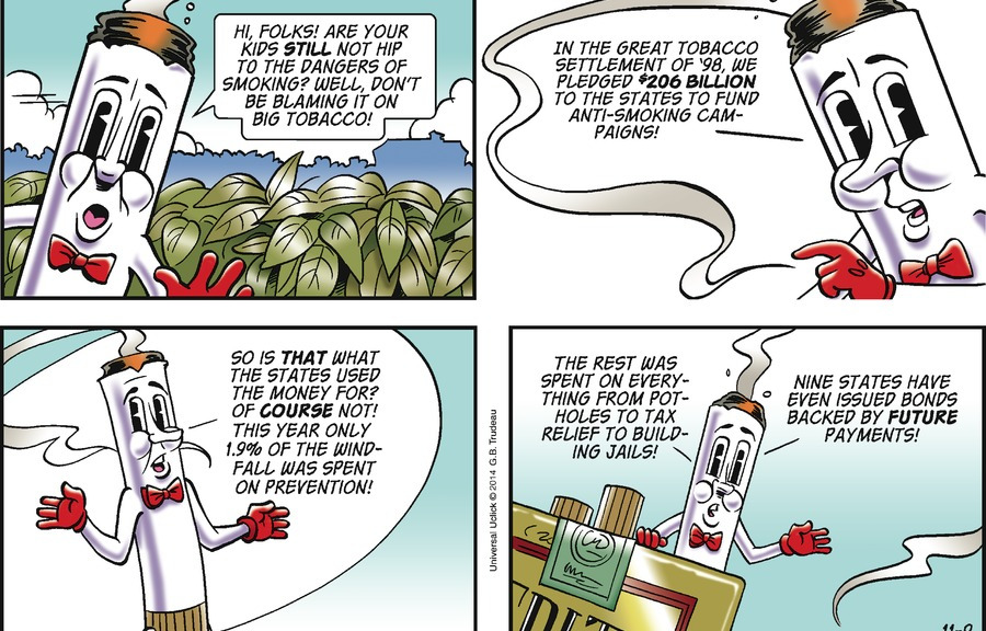 Mr. Butts Makes A Return To Doonesbury | Pepe'S Non-Smoking Party