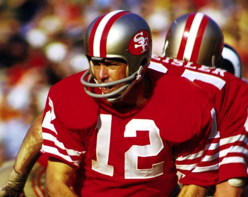 Quarterback John Brodie (12) of the San Francisco 49ers hands off the ball, 1971.©James Flores/NFL Photos